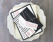 """Pink and Gray Modern Wedding Invitations, Lace Wedding Invitations, Striped Wedding Invitations - """"Modern Lace"""" Sample"""
