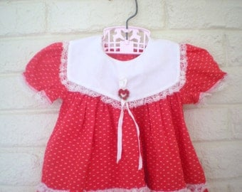 Little Sweetheart, Red and White Portrait Collar Dress with Heart Trim, Size 6-9 months