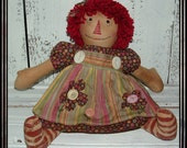 Primitive hand embroidered raggedy doll HAFAIR OFG shaggy yarn hair painted legs appliqued apron