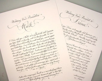 Calligraphy and Art for Wedding Vows, 1st Dance Song Lyrics, Love Poetry