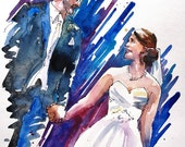 Couple Portrait, Wedding Portrait, Custom Wedding Portrait Wedding gift Original watercolor portrait