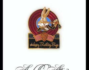 Ten Bugs Bunny 50th Birthday Lapel Pin / 1989 Commemorative Collectible / Warner Bros. Cartoon Character / Rabbit / What's Up Doc?