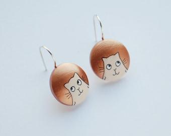 Copper earrings with cat