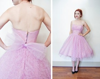 Vintage 1950s Dress - Pink Lace Full Skirt Sleeveless Sweetheart Party Prom - Extra Small