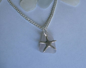 Lavender sea glass necklace with starfish. Sea glass jewelry.