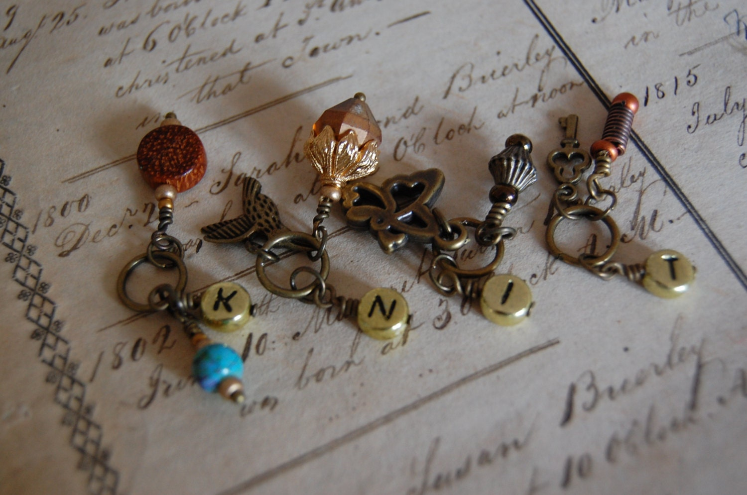 Knitting Markers Etsy : Steampunk quot knit stitch markers from beyondbrass on etsy