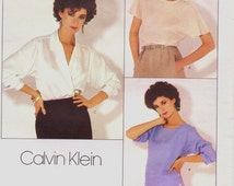 80s Calvin Klein Womens Pullover Top and Wrap Blouse Vogue American Designer Sewing Pattern 1128 Size 10 Bust 32 1/2 UnCut