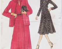 80s Very Easy Vogue Sewing Pattern 9961 Womens Flared Dress and Jacket Size 12 Bust 34 UnCut Pullover Dress Pattern