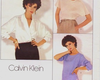 80s Calvin Klein Womens Pullover Top and Wrap Blouse Vogue Sewing Pattern 1128 Size 10 Bust 32 1/2 UnCut Vogue American Designer Pattern