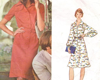 1970s Valentino Womens Shirtdress Fit and Flare Vogue Sewing Pattern 1052  Size 12 Bust 34 Vintage Vogue Couturier Design Sewing Patterns