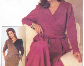 80s Womens Mock Wrap Dress with Straight or Half Circle Skirt Simplicity Sewing Pattern 7030 Size 10 12 14 Bust 32 1/2 to 36 UNCut