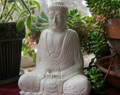 Buddha Statue, White Robed Buddhist Concrete Figure, Meditating Cement Garden Decor