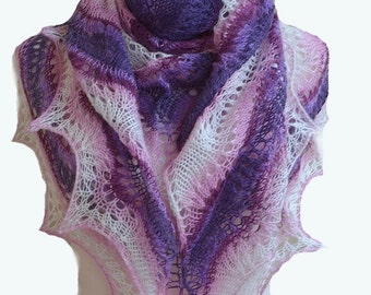Multicolor knitted shawl scraf - very delicate purple pink beidal wedding
