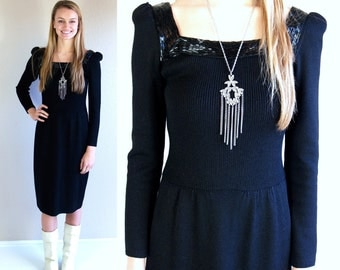vtg 80s black ST JOHN authentic designer Knit DRESS beaded Small cocktail puff sleeve slinky