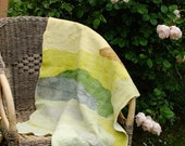 Silk blanket Nuno felt silk and merino baby blanket - Plant dyed green lavender yellow Summer blanket