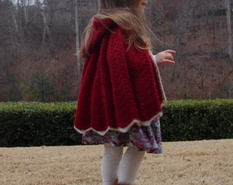 Red Alpaca Cape for Toddler Little Red Riding Hood