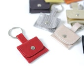 """Genuine Leather Keyring """"Minibag"""" Red, available in 9 colors, keychain, keyfob"""