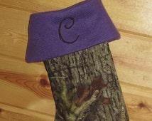Purple Camo Christmas Stocking choice Mossy Oak or Realtree Camo