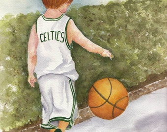 Celtics Boy Watercolor Print -  5x7 or 8x10 available