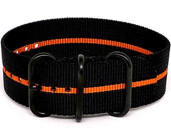 Ballistic Nylon NATO 1 Piece Watch Strap - Black Orange Stripe (PVD Buckle)