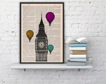London Big Ben Tower,Wall decor art Multiple colored Balloons, british home decor, office wall hanging art, gift, poster london art BPTV015