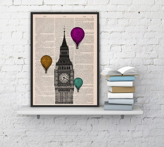Christmas Sale London Big Ben Tower,Wall decor art Multiple colored Balloons, british office wall hanging art, gift, poster london BPTV015
