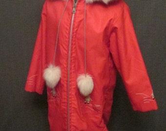 Vintage Inuit Coat, Handmaid Inuit Ladies Jacket, Handmade Ladies Parka, Full Length Parka Winter Coat, Parka Fur Edged Hood