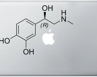 Adrenaline Compound Molecule laptop DECALS- macbook iPad computer- chemical structure -vinyl sticker