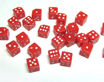 25 Red Dice Beads High Quality Opaque Cherry Red 5mm