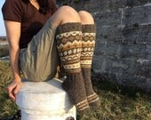 High Hand Knitted Patterned Fair Isle Socks - 100% Natural Wool - Warm Autumn Winter Clothing