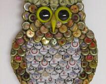 Owl Wall Art with Metal Bottle Cap Owl Sculpture with Mixed Beer BottleCaps