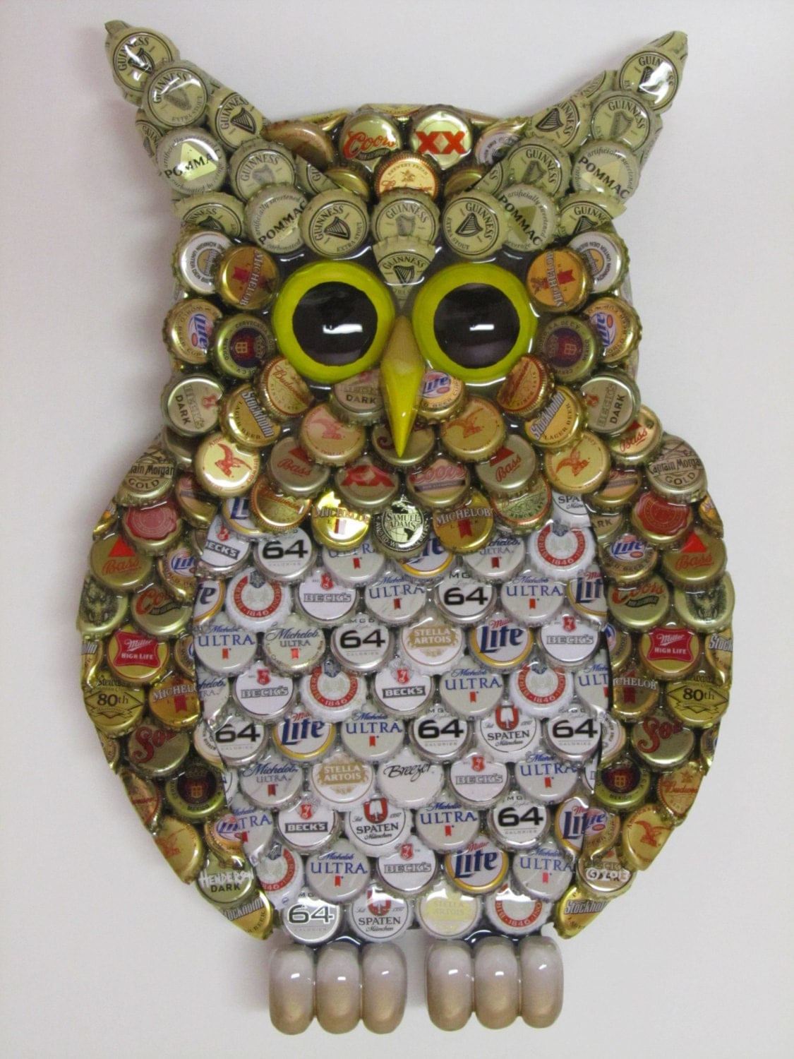 Owl wall art with metal bottle cap owl sculpture with mixed for How to make beer bottle cap art