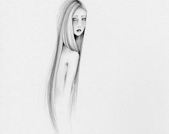 Modern Minimalist Art Print of my Original Work of Art Modern Minimalist Art for Your Home Art Print of a Minimalist Girl Black and White