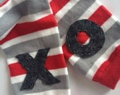 XO Valentine's Day Leg Warmers, Grey Red and White Leg Warmers