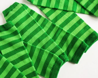Green Baby Leg Warmers - Kelly Green and Lime Green, Hand Dyed for babies and kids