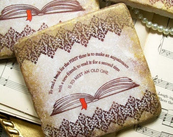 Reading Coasters, Book Coasters, Drink Coasters, Literature Coasters, Stone Coaster Set,  Book Club Coasters, Book Club Favors