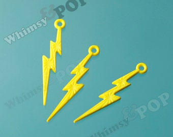 Yellow Acrylic Lightning Bolt Charms, Lightning Charm Pendant, 45mm x 9mm (C2-08)