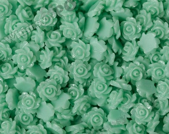 Seafoam Green Teeny Tiny Detailed Rose Cabochons, Rose Shaped Flatback Cabochons, 7mm x  3mm (R8-125)