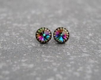 Jewel Rainbow Earrings Swarovski Crystal Dark Rainbow Earrings Crown Victorian Studs Mashugana