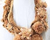 Harvest Goddess Neckpiece, gold, crocheted, flowers, pom-poms