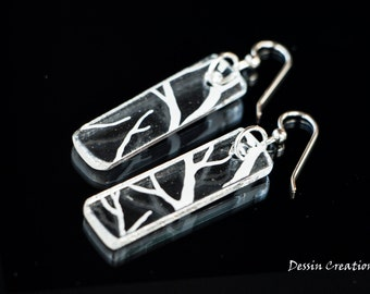 Winter White Tree Branches, Recycled Fused Glass Jewelry, Upcycled Glass Earrings, Bartender Gift, Dessin Creations
