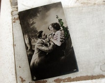 antique real photo postcard - two lovers - Edwardian hand painted photograph - unused RPPC