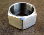 Hex nut ring, stainless steel hardware nut, unisex, geometric, industrial modern chunky ring, size 10