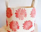 Handstamped Fabric Basket Red Organic Cotton