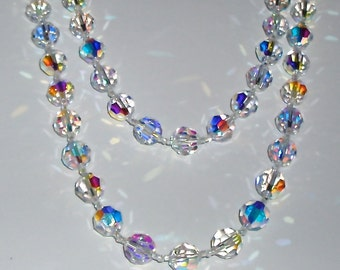 SALE - Spectacular Mid-Length Clear AB Crystal Necklace