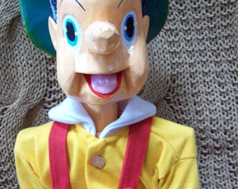 Wooden Pinnochio doll jointed large Vintage handpainted handmade clothing simple unique