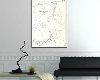 Vintage Nantucket Sound East Massachusetts Cape Cod Map 1901 Eldridge Harbor Chart Book Bay Nautical Compass Art Deco Rustic Poster