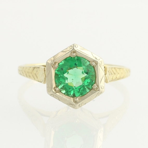synthetic emerald ring vintage 72ct solitaire by