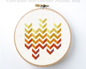 Chevron Cross Stitch Pattern Instant Download Geometric Modern Needlepoint design