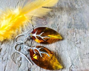 Summer Jewelry, Topaz Orange Leaf Earrings, Crystal Earrings, Crystal Jewelry, Swarovski Summer Earrings, Drop Earrings, Summer Jewelry